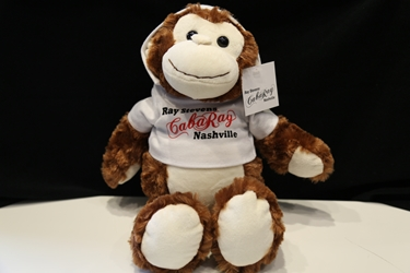 Stuffed monkey with CabaRay hoodie